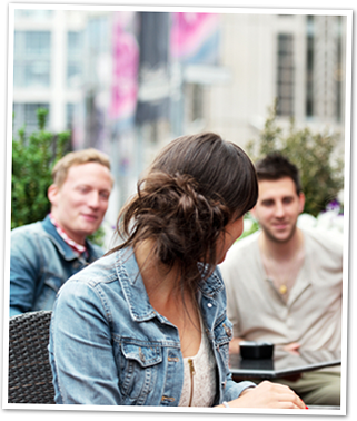 Girl talking to Men Photo